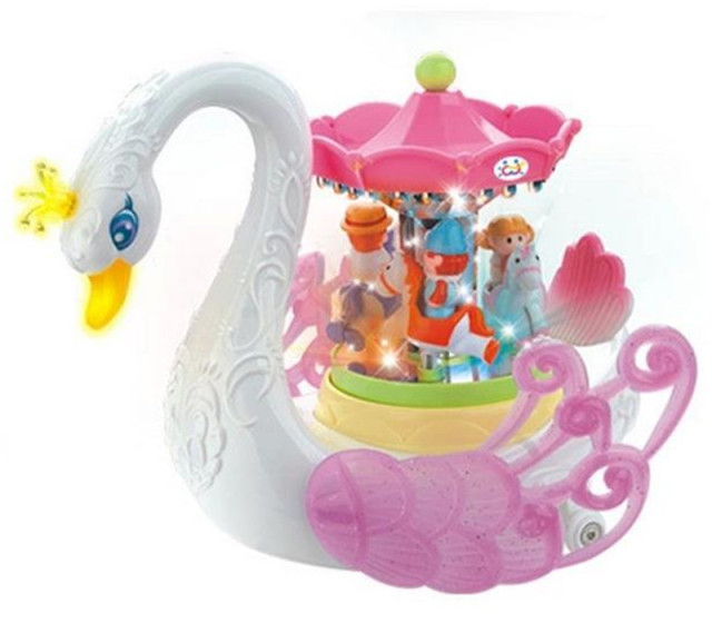 children toys kid gifts electric musical toy carousel Fantasy Swan amusement park with music lowest price