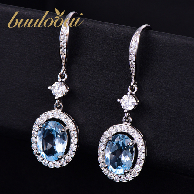 buulooai Solid 925 Sterling Silver Drop Earrings For Women Sky Blue Topaz Gemstone Fine Jewelry Party Gift Fine Jewelry