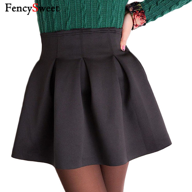 cb39f398a084f US $18.3 |Fencysweet Autumn Winter High Waist Flared Black Mini Skirt Sexy  Skater Skirts Female Pleated Ball Gown-in Skirts from Women's Clothing on  ...