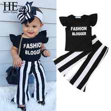 HE Hello Enjoy Toddler Girls Kids clothes Sleeveless Ruffle Letter Print Pullover T-Shirts Stripe Trousers 2PC Baby Clothing Set jennifer greene the baby chase
