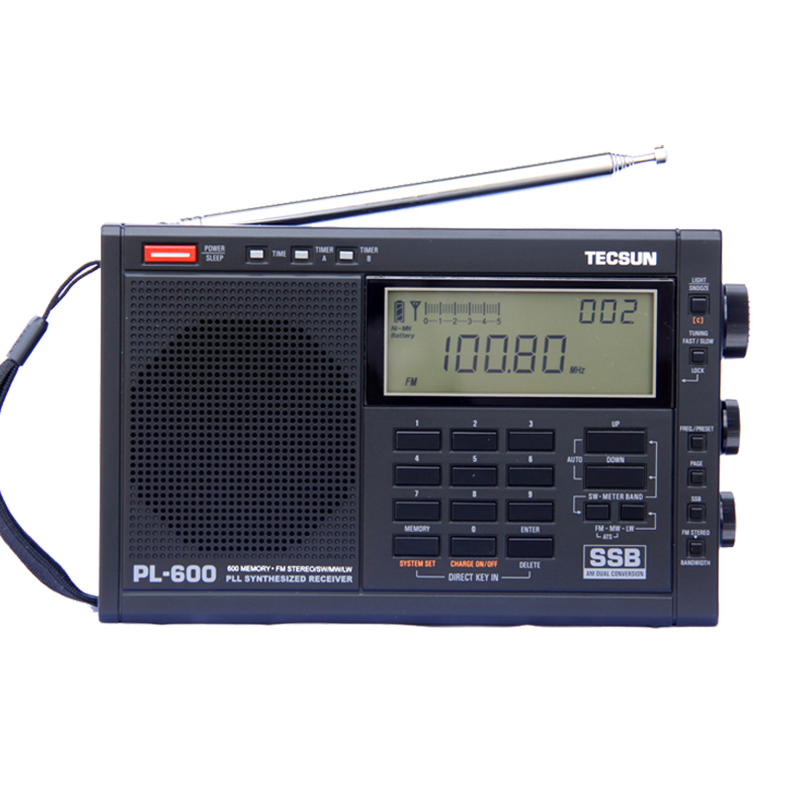 TECSUN PL-600 Digital Tuning Full-Band FM/MW/S-SBB/PLL SYNTHESIZED Stereo Radio Receiver (4xAA) PL-600 radio 1w 5w fm stereo pll transmitter radio broadcast station ant power supply lb0229