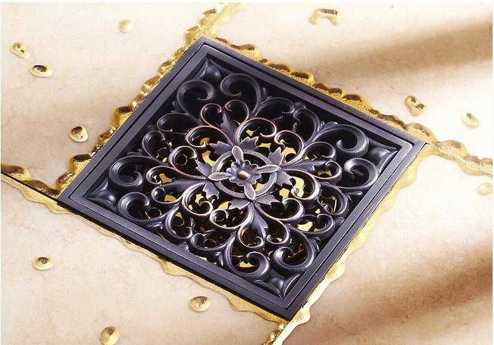 10*10cm Euro Style Black Antique Brass Flower Carved Shower Floor Drain /Waste Drainer /Sink Grate Floor Drain /shower hair trap все цены