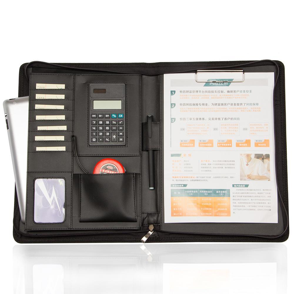 Portefeuille d'affaires Portable dossier de dossier Padfolio organisateur de sac de Document A4 PU cuir fermeture à glissière calculatrice bloc-notes