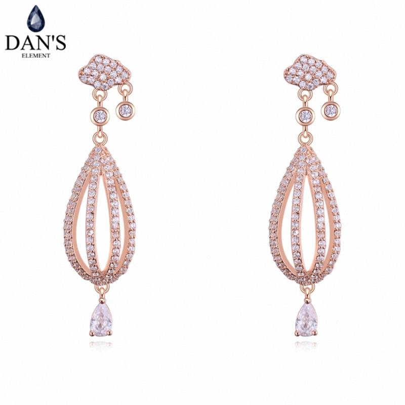 DANS 3 Colors Real Austrian crystals Stud earrings for women Earrings s New Sale Hot Round 129590