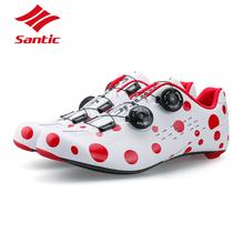 Santic obuwie rowerowe Road PRO Carbon Fiber 2018 buty rowerowe samoblokujące ultralekkie buty rowerowe Sapatillas Ciclismo Athletic tanie tanio Dla dorosłych Z włókna węglowego Slip-on Średnie (b m) Pasuje prawda na wymiar weź swój normalny rozmiar Oddychające