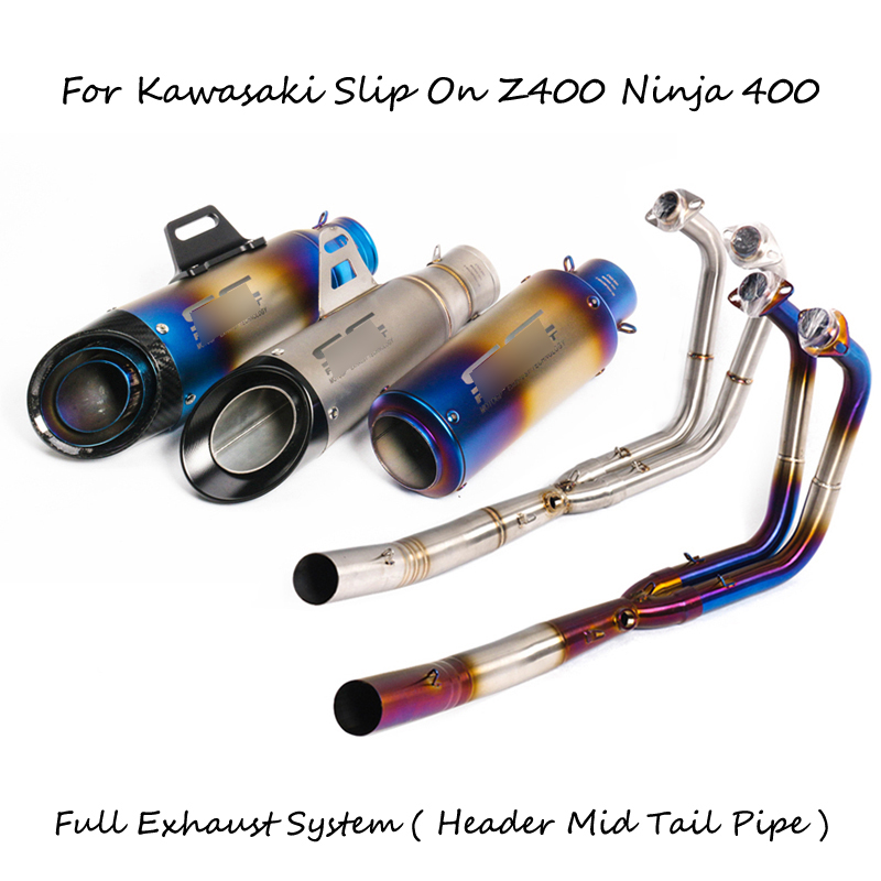 Z400 Ninja 400 Complete Exhaust System for Kawasaki Slip On Header Mid Tail Pipe Stainless Steel Link Pipe + 51 mm Tail Escape for kawasaki z1000 2010 2016 stainless steel slip on exhaust header down pipe