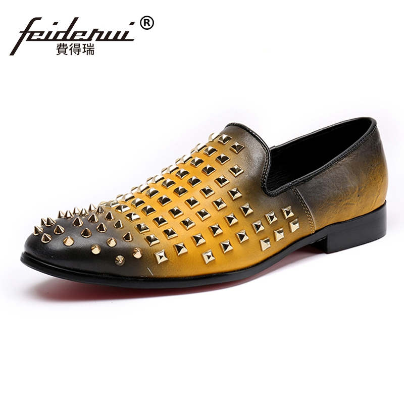 Plus Size Yellow New Round Toe Slip on Studded Man Moccasin Loafers Genuine Leather Men's Comfortable Rocker Casual Shoes SL156 odetina 2017 new fashion genuine leather women rivet flats platform casual shoes lady slip on loafers round toe plus size 32 43