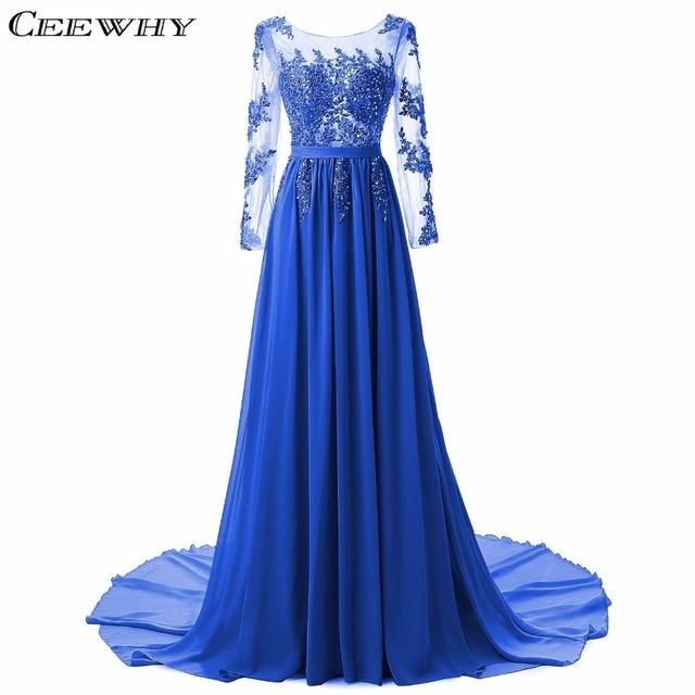 Ceewhy синий Вышивка Sexy спинки шифоновое вечернее платье с длинным рукавом суд поезд платье для выпускного вечера для беременных Для женщин халат De Soiree