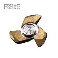 FEGVE Fidget Spinner Hand Spinner Finger Tri Spinner Metal Pure Copper And Titanium EDC DIY Assembly