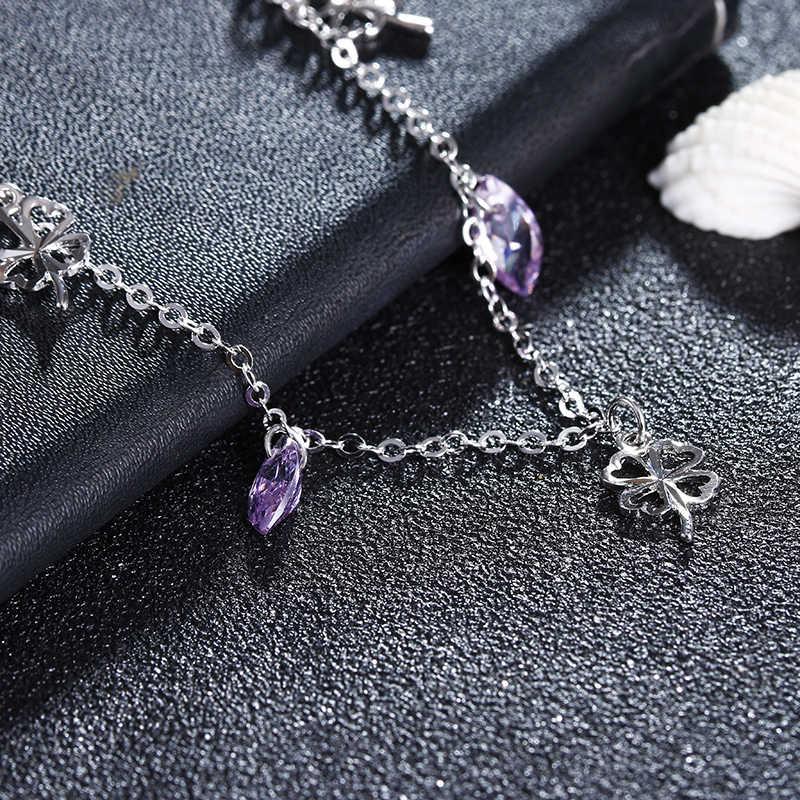 100% 925スターリングシルバーファッションシャイニーパープルクリスタルフラワーladies'ankletsジュエリー女性アンクレット卸売女性ギフト