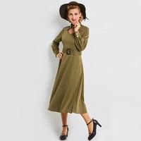 2018 Herfst Vrouwen Een Lijn Jurk Peter Pan Kraag Mid Kalf Volledige Mouwen Belted Groene Elegante Slanke Vrouwen Vintage Jurk