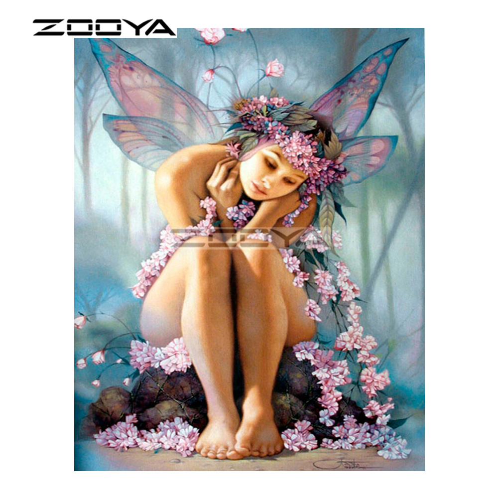 ZOOYA 5D DIY Diamond Girl butterfly wing elf character Diamond Painting Cross Stitch Square Drill Mosaic Decoration BK801