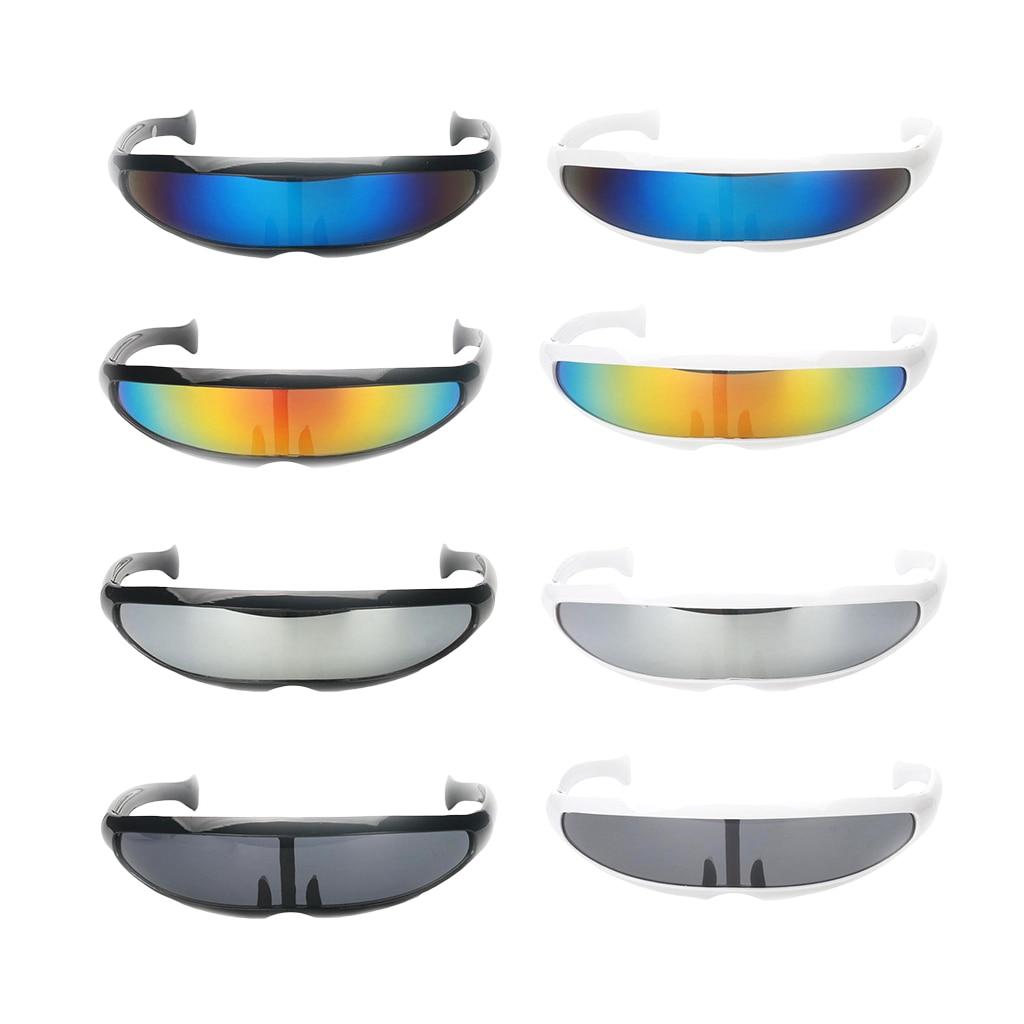 Funny Plastic Color Mirrored Single Lens Visor Sunglasses Cyclops Cosplay Women Men Party Eye Glasses For Boys