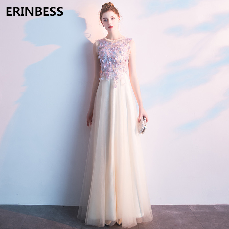 Vestido De Festa O-Neck Evening   Dresses   Long Floor Length A Line Tulle With Appliques Party Gowns Long   Prom     Dress   2019 Fashion