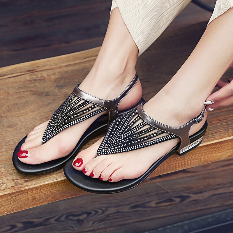 YMECHIC Summer Glitter Flock Bling Crystal Rome Beach Low Heel Shoes Real Leather Ankle Strap Womens