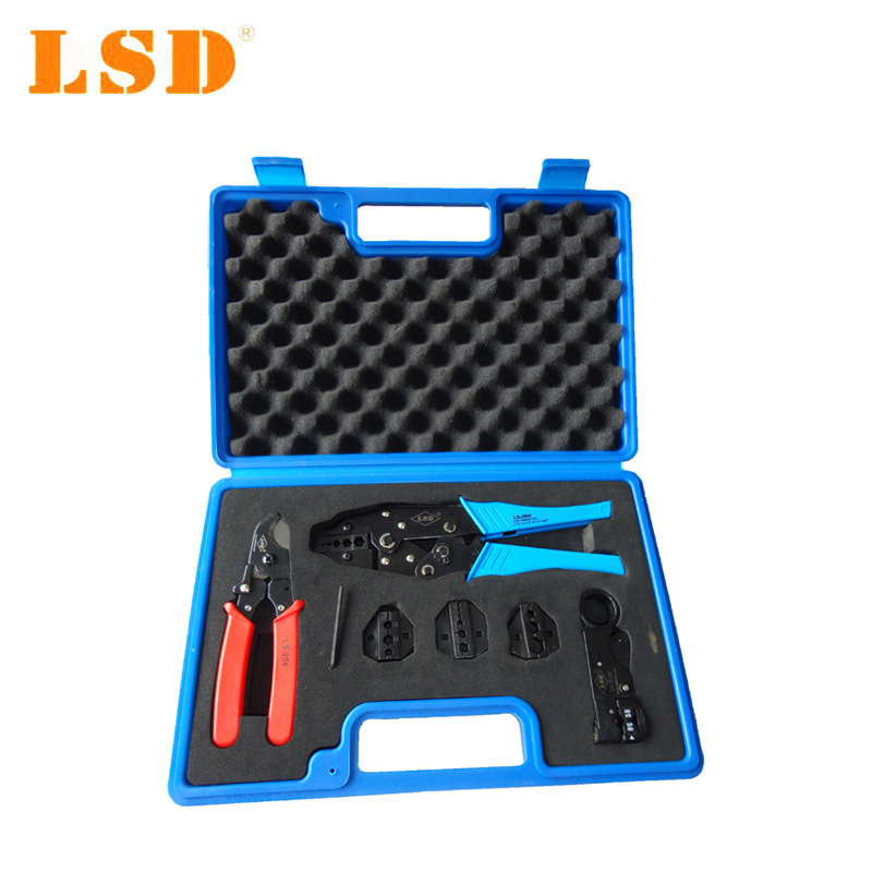 LS-05H-5A2 Combination tool set for TV cables, contains coaxial cable crimping tool BNC crimping tool set for coaxial cable ratchet crimping plier hdtv bnc tnc tue 75 ohm dk0