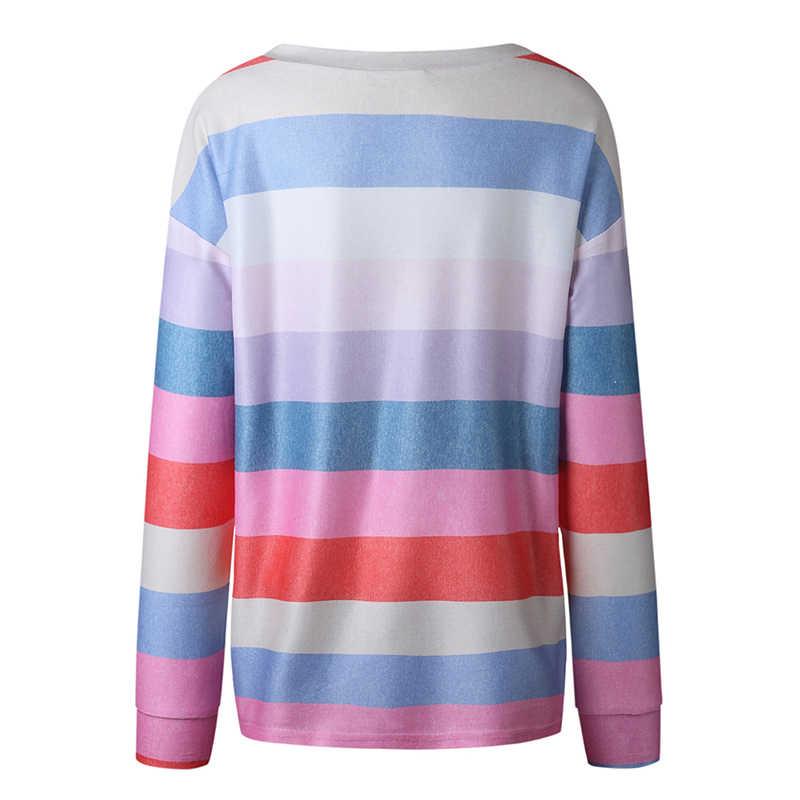 GAOKE Outono Partes Superiores Das Senhoras Listrado Colorido Encabeça T shirt Mulheres Impressa Em Torno Do Pescoço Manga Comprida Solta Casual Íris Tshirt Feminino
