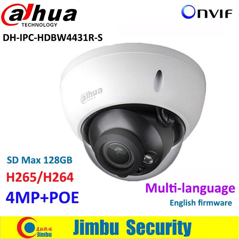Dahua 4MP IP Camera IPC-HDBW4431R-S HD Network IR30m H.265 Dome CCTV Camera POE DH-IPC-HDBW4431R-S Micro SD memory 128G wholesale dahua dh ipc hdbw4233r as 2mp ir mini dome network ip camera ir poe audio sd card stellar h265 h264 ipc hdbw4233r as