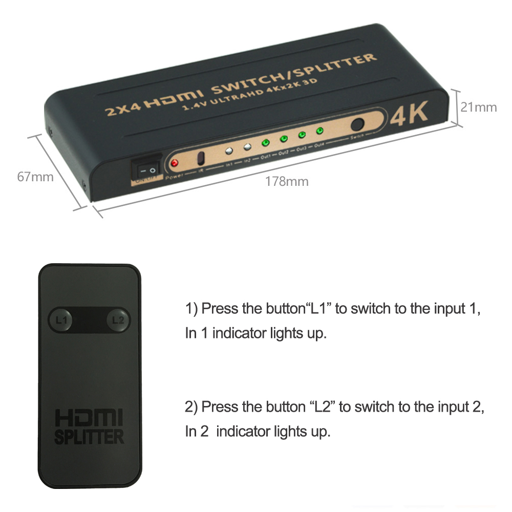 Aikexin 4K HDMI Splitter 2x4 with IR Remote 2 IN 4 OUT HDMI Switch Splitter  Support Ultra HD 4K Full HD 1080P HDMI1 4 Switch