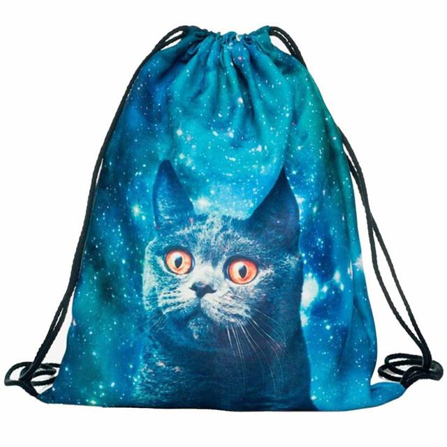 3D Cat Print DrawString Bag
