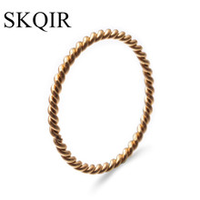 SKQIR Round Rings For Women 1.5mm Thin Rose Gold/Silver/Gold Color Twist Rope Stacking Wedding Rings in Stainless Steel bijoux