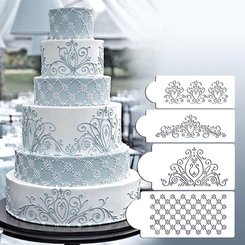 4 Pieces/lot Cake Stencil Template Mold Baking Tool Princess Lace Cupcake Cookie Fondant Cake Embossing Die Decoration Accessory