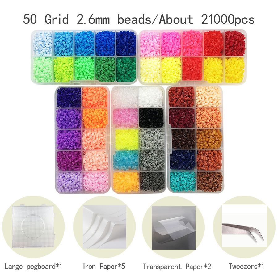 Mini 2.6mm Hama Beads Include Tool Pegboard PUPUKOU Beads Kids Education Diy Fuse Bead Jigsaw Puzzle 3D For Children Abalorios