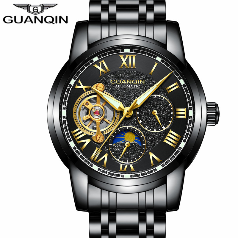 GUANQIN Top Brand Watches Mens Water Resistant Luminous Automatic Watch Skeleton Tourbillon Mechanical Wristwatches Black Clock цена 2017