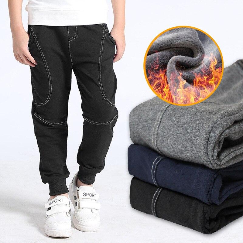 Cotton winter warm Teenager Boy pants for boys plus fleece kids trousers children Sweatpants child sports casual pants plus contrast panel side tapered sweatpants