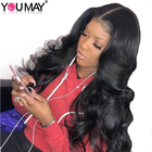 13x6 Lace Front Human Hair Wigs 250% Density Brazilian Body Wave Human Hair Wig Pre Plucked Non-remy Hair Bleached Knot You May