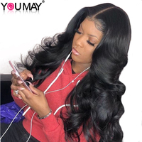 13x6 Lace Front Human Hair Wigs 250% Density Brazilian Body Wave Human Hair Wig Pre Plucked Non remy Hair Bleached Knot You May