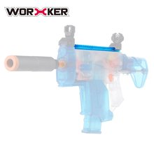 WORKER 27.9CM Transparent Blue Nylon Grooved Top Rail Mount Kit with Track for Nerf Toy Guns Joint Parts Modification Supplies