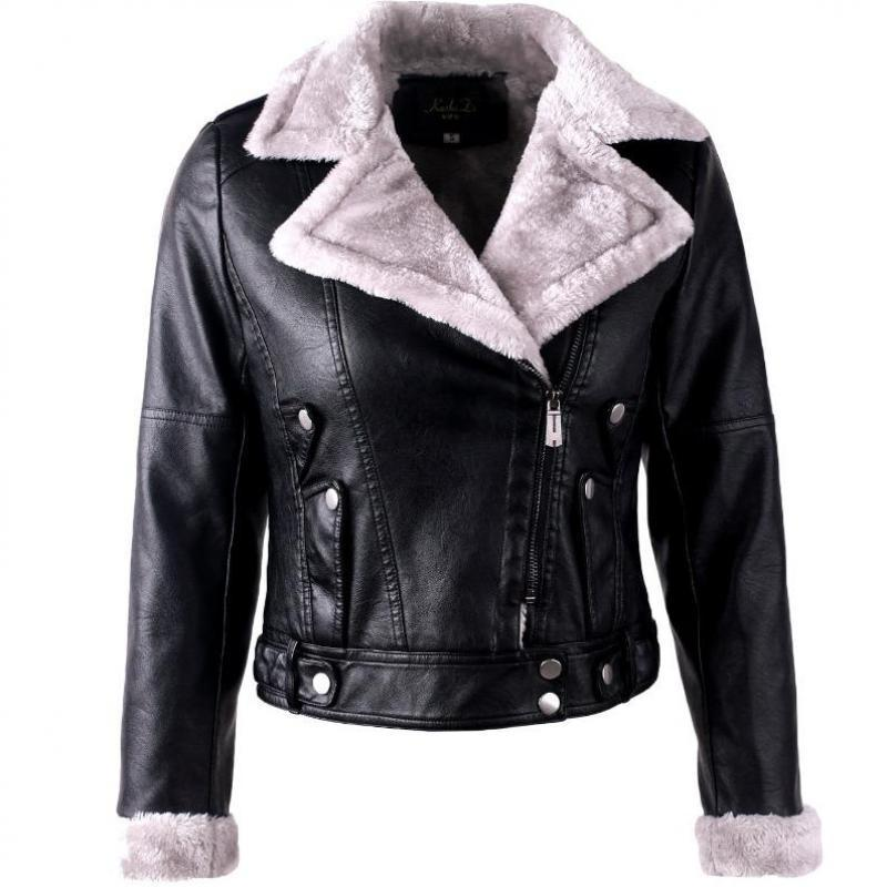 Pu   leather   women's autumn and winter motorcycle   leather   jacket Korean version of the thick large lapel long sleeve plus velvet