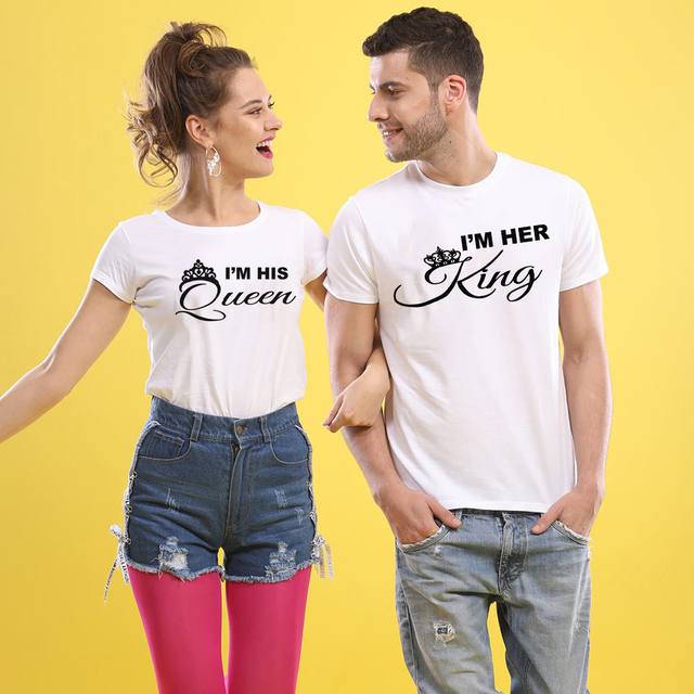 778ca45f80ee 2018 Summer Lovers Tshirt KING QUEEN Crown Couple T-shirt Women Men Funny  Letter Print T Shirts His and Hers Gifts for Loved