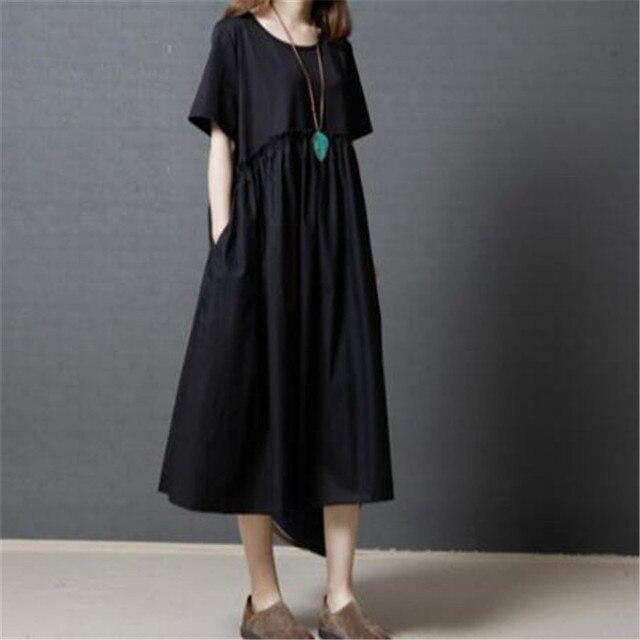 16a86db9064 Nice New Summer Style Dress Short Women Long Dress Loose Plus Size Vintage  Casual Cotton Linen Dress Vestidos Robe ZY4668