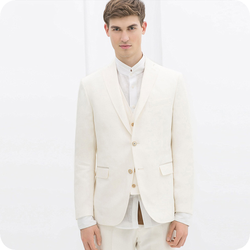 Ivory Men Suits Wedding Suits Bridegroom Groom Wear Tailored Made Tuxedos Slim Fit Casual Best Man Blazer 3piece Terno Masculino