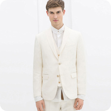 Ivory Men Suits Wedding Bridegroom Groom Wear Tailored Made Tuxedos Slim Fit Casual Best Man Blazer 3piece Terno Masculino