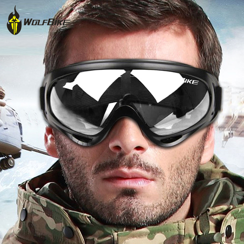 WOLFBIKE Airsoft Mens Cycling Sunglasses Black frame Ski goggles Outdoor Sport Motorcycle Lens Yellow Paintball Eyewear