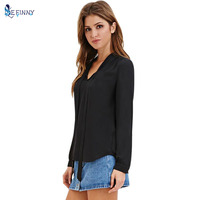 Casual Vogue Autumn Women Blouses Shirts Chiffon Full Sleeve Bow Solid Color V-Neck Blouse