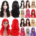 Women Girl's Long Cosplay Wig Pink Red Purple Gray Black  Anime Party Halloween Costume Fancy Dress Synthetic Full Hair Wigs