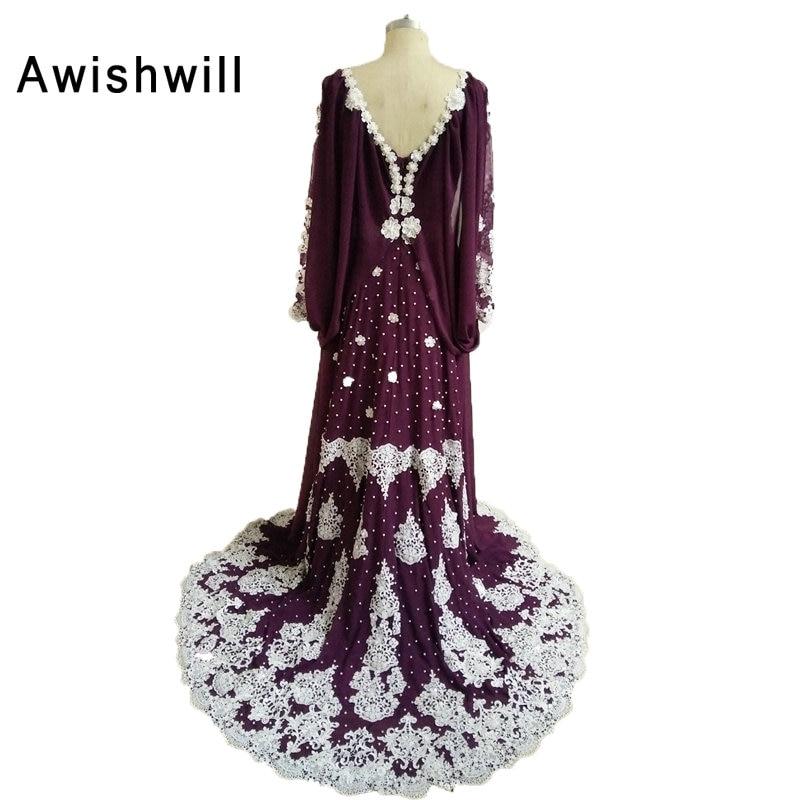 100% real photo Marokkaanse kaftan jurk lange mouwen kralen kant - Jurken voor bijzondere gelegenheden - Foto 2