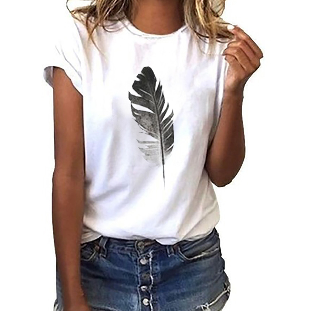 Women Clothing Short-Sleeve Female t-Shirt Leaf-Print O-Neck-Top-Summer Casual C25
