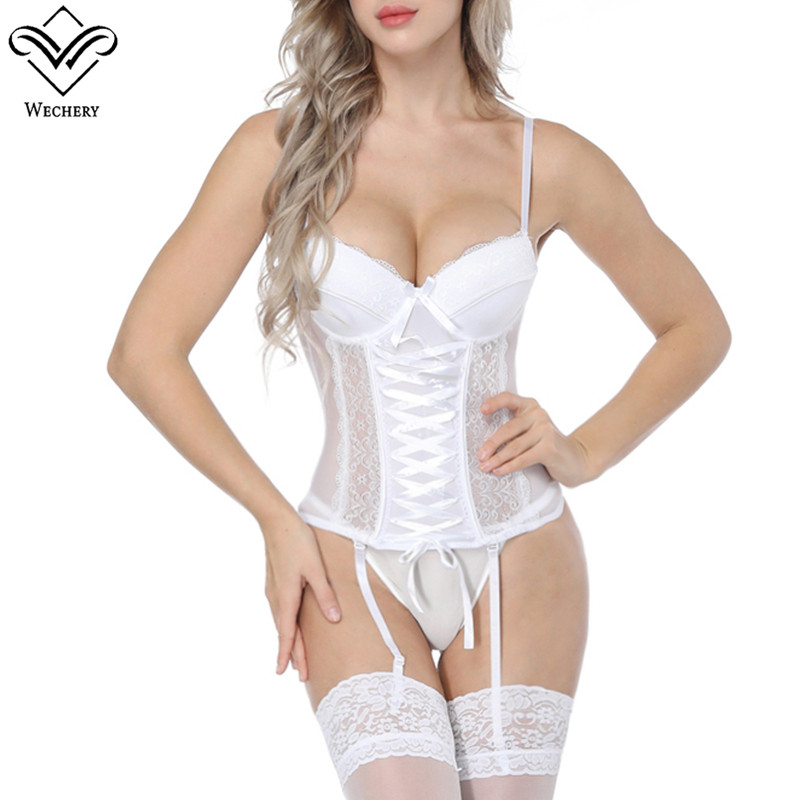 Wechery Women Steampunk Corset Sexy lace Mesh Corset Tops Push Up Gorset For Cosplay Party Show Sexy lingerie Underwear Shapers