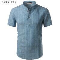 Striped Shirt Men Brand New Cotton Linen Men Shirt Slim Fit Mens Dress Shirts Short Sleeve