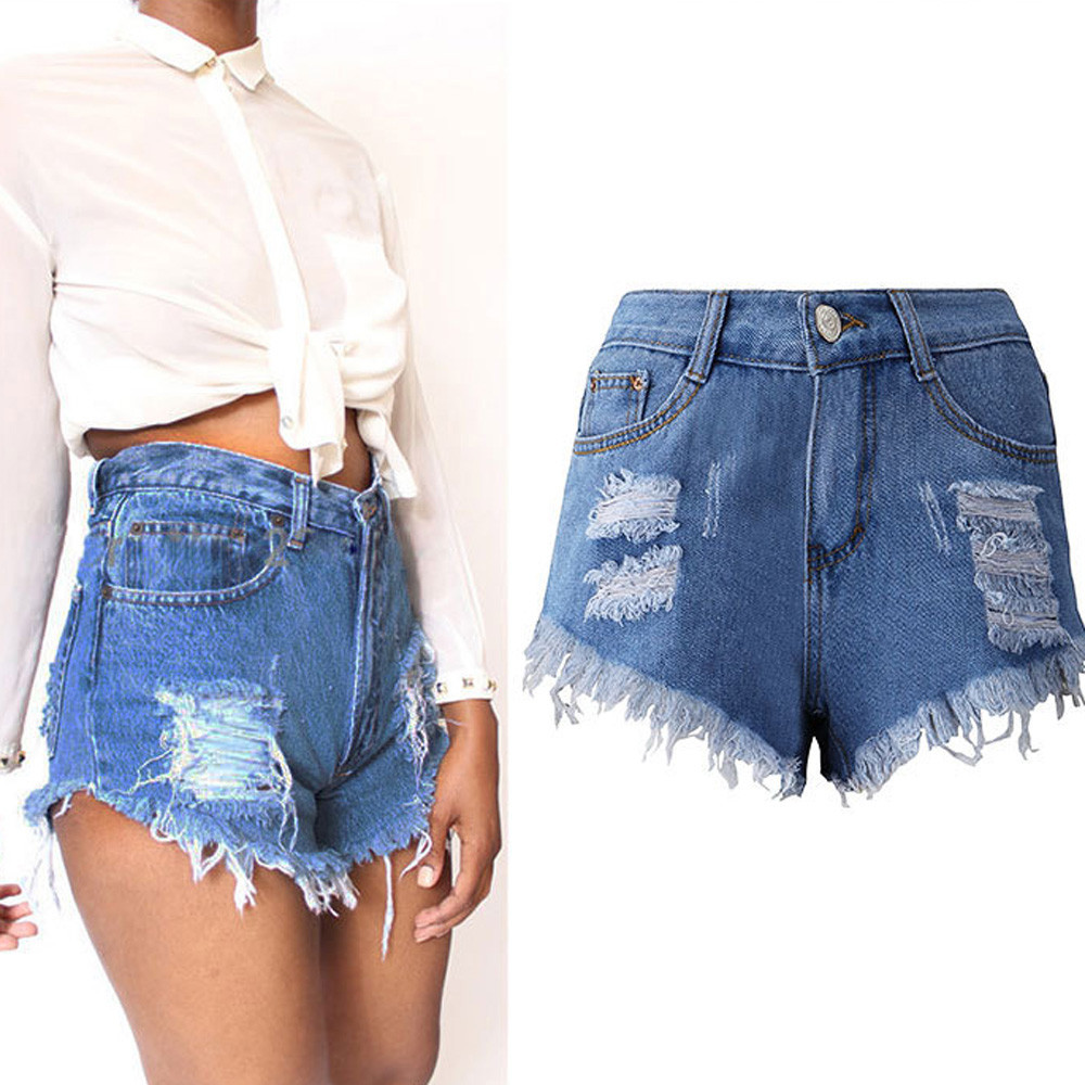 Women Sexy Tassel soft and comfortable Hole Shorts   Jeans   Denim Short Pants L50/0130