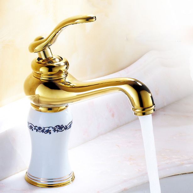 Basin Faucet Brass Golden White Paint Bathroom Faucet Single Handle Vanity Sink Deck Retro Ceramics Mixer Water Tap Crane QX9004 donyummyjo luxury bathroom basin faucet brass golden polish swan shape single handle hot&cold water vanity sink mixer tap page 9