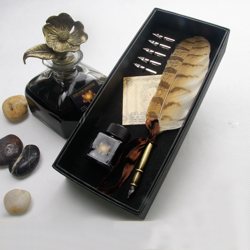 Natural Owl Feather Antique Dip Pen Set with 1 Pen Holder 1 Gift Box 1 ink and 5 Nibs цена и фото
