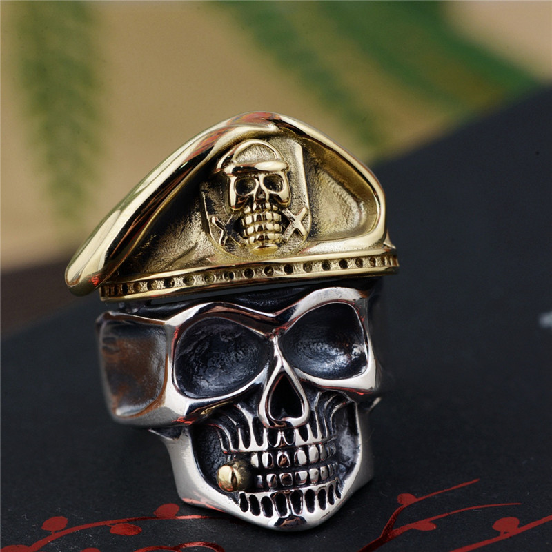 цена на BESTLYBUY 925 Sterling Silver 27mm Gold Color Skull Anchor Sculpture Ring Men Vintage Punk Finger Silver 925 Jewelry