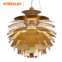 Powerlbo pendant lights with Artichoke shape Lamp Modern Hanging Lights for Living Room Light Fixtures Decor Luminaire E27