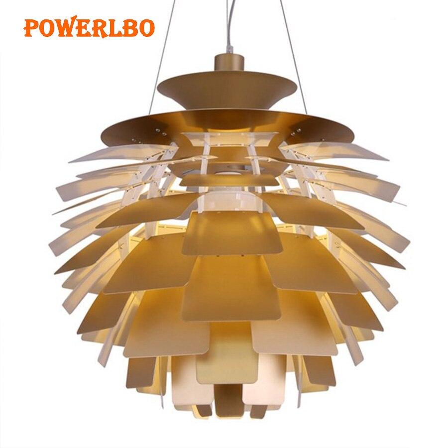 Powerlbo pendant lights with Artichoke shape Lamp Modern Hanging Lights for Living Room Light Fixtures Decor Luminaire E27